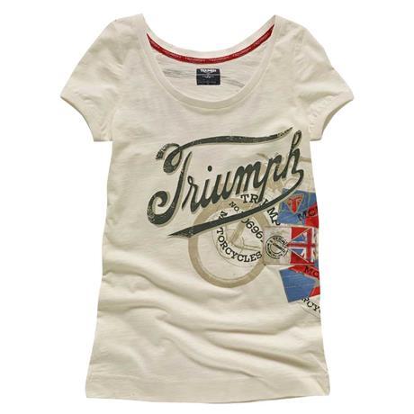 Women s scoop neck denim bike print tee triumph motorcycles for Bike and cycle shoppe shirt